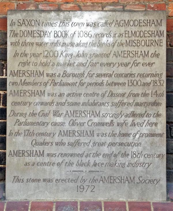 plaque on market hall old amersham