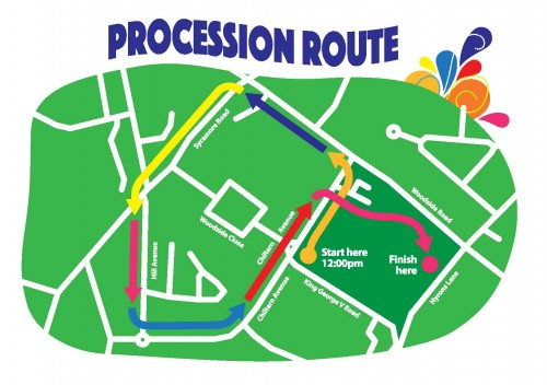 Amersham Carnival & Town Show Procession Route Map FINAL