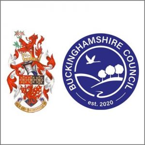 logos of amersham town council and buckinghamshire council
